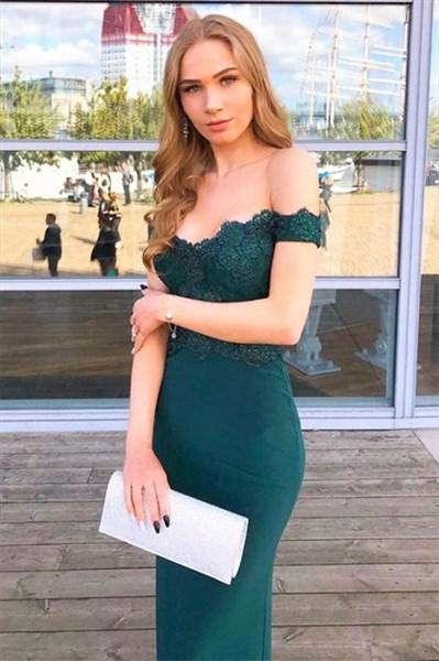 Teal Off The Shoulder Lace Applique Embellished Prom Evening Dress