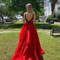 Red Organza Layered V-Neck Lace Applique Embellished Evening Dress