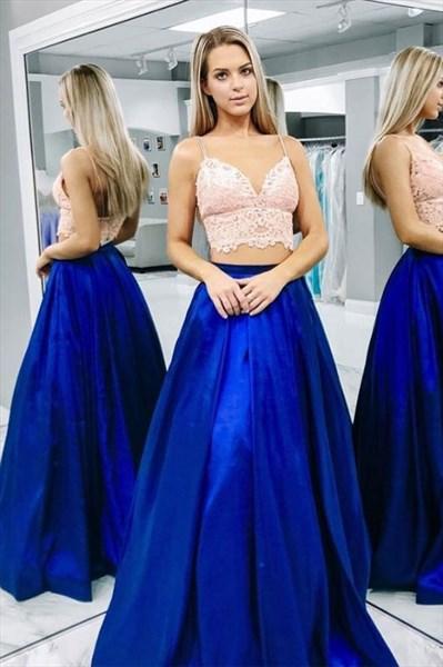 Royal Blue Two Piece Lace Applique Bodice Spaghetti Straps Prom Dress