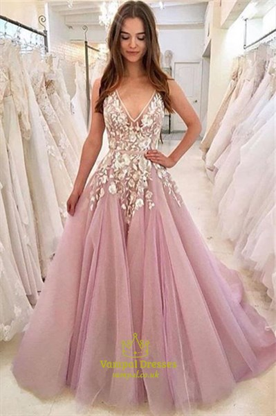 V-Neck Sleeveless Illusion Lace Applique Embellished Tulle Prom Dress