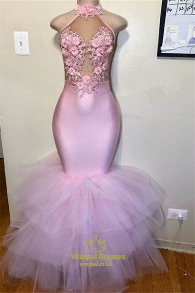 Illusion Sheer Lace Applique Layered Halter Mermaid Prom Evening Gowns