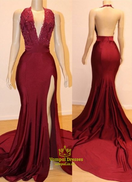 Burgundy V-Neck Halter Mermaid Split Front Backless Prom Evening Dress