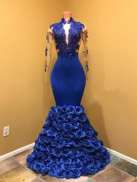 Royal Blue Long Sleeves Lace Applique 3D Floral Embellished Prom Dress