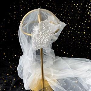 Sequin Applique Embellished Short Hat With Veil