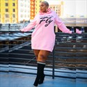 Women's Letter Printed Casual Long Sleeve Hoodie Plus Size Dress