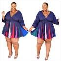 Floral Printed Long Sleeve Wrap V-Neck Pleated Plus Size Dress