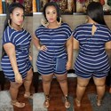 Women's Striped Printed Short Sleeves Plus Size Jumpsuit