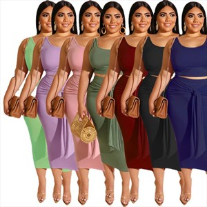 Two Piece Sleeveless Casual Tight-Fitting Plus Size Dress