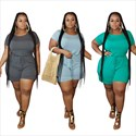 Women Holiday Short Sleeves Casual Plus Size Loose Jumpsuit