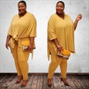 Women Two Piece V-Neck Plus Size Casual Long Pants Set