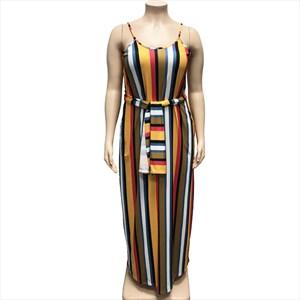Women's Striped Spaghetti Straps Summer Plus Size Maxi Dresses
