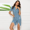 Short Sleeves Summer Jeans Clothing Denim Jumpsuit