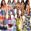 Women's Tie Dye Sleeveless Casual Bodycon Long Maxi Dresses