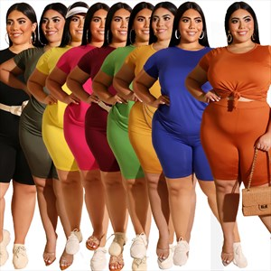 Women Plus Size Two Piece Casual Short Sleeve Tracksuit Sets