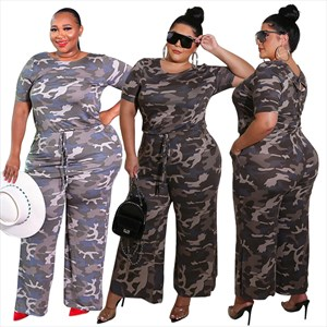 Women's Camouflage Casual Short Sleeve Plus Size Jumpsuit