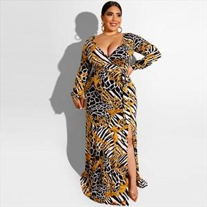 Women's Long Sleeves V-Neck Plus Size Maxi Dress With Split