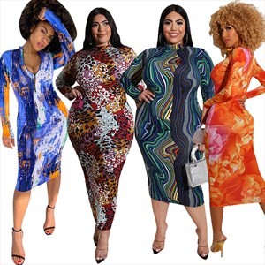 High-Neck Printed Long Sleeves Plus Size Bodycon Dresses