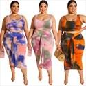 Tie Dye Printed Two Piece Plus Size Bodycon Dresses