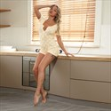 Printed Short Sleeves Plus Size Jumpsuit Women's  Sleepwear