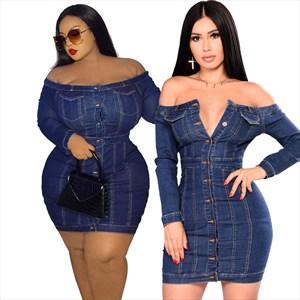 Long Sleeves Plus Size Bodycon Denim Short Dress For Women