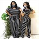Stripe Printed Short Sleeves Plus Size Jumpsuit