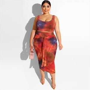 Tie-Dyed Print Two Piece Bandage Bodycon Plus Size Dress