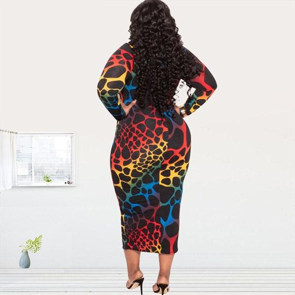 Plus Size Printed Long Sleeve Bandage Bodycon Midi Dress