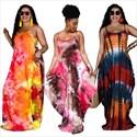 Plus Size Tie Dye Printed Spaghetti Straps Maxi Dress