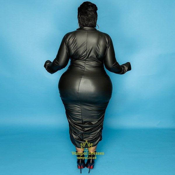 Women's Long Sleeves Plus Size Bodycon Midi Dresses