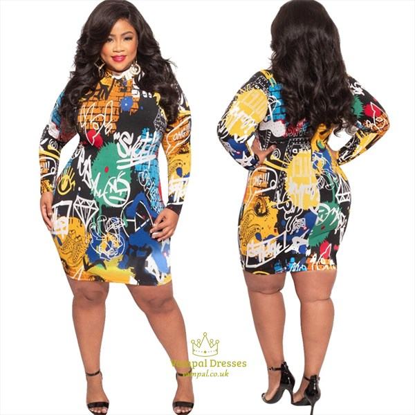 High-Neck Printed Long Sleeves Plus Size Short Bodycon Dresses