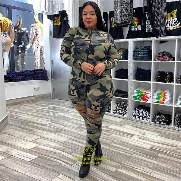 Camouflage Printed Long Sleeves Plus Size Bodycon Jumpsuit