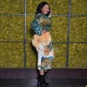Tie Dye Printed Long Sleeves Plus Size Bodycon Midi Dresses