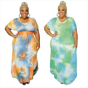 Short Sleeves Tie Dye Printed Plus Size Maxi Dresses