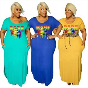 Letter Lip Print Short Sleeves Side Pocket Plus Size Dress
