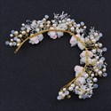 Alloy Flower Fairy Gold Bridal Headpieces Hair Vine With Pearls