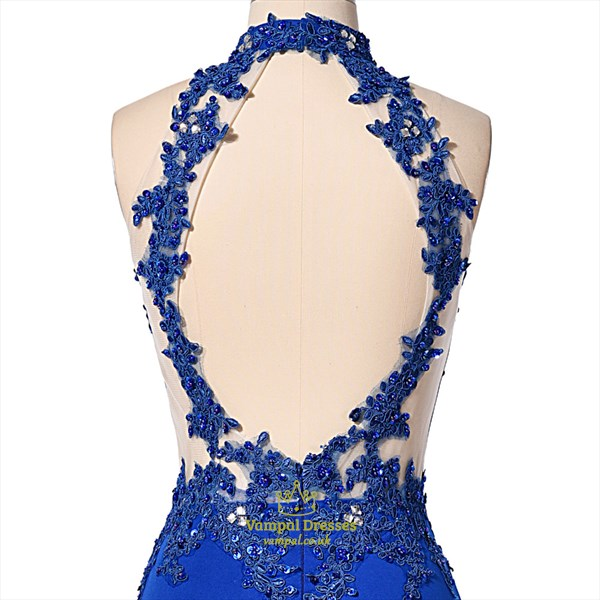 Blue Halter Lace Applique And Beads Embellished Prom Dress With Split