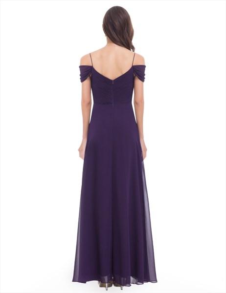 Eggplant Chiffon Floor Length Bridesmaid Dress With Straps Embellished