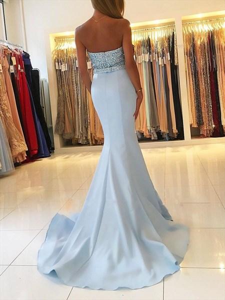 Blue Sweetheart Beaded Bodice Mermaid Prom Dress With Train