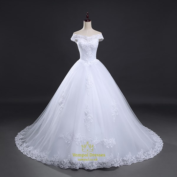 White Off The Shoulder Ball Gown Wedding Dresses With Lace Overlay