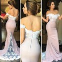 Pink Off The Shoulder Embellished Mermaid Prom Dress With Train