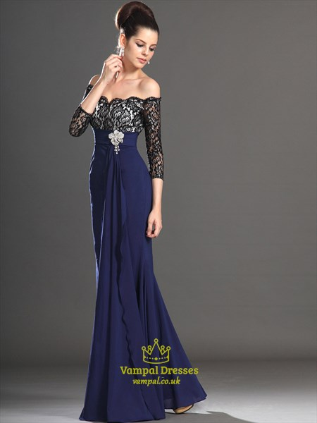 Off The Shoulder Empire Waist Black Lace Top Prom Dress With Sleeves