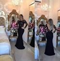 Long Sleeve Lace Bodice Backless Long Mermaid Prom Dress