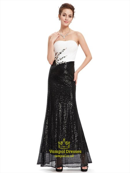Black And White Strapless Sequin Sheath Prom Dress With And Beading