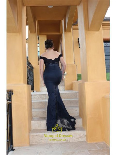 Navy Blue Lace Off The Shoulder Mermaid Open Back Prom Dress