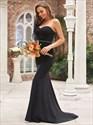 Black Strapless Sweetheart Mermaid Floor Length Prom Dresses