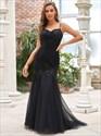 Black Lace Applique Spaghetti Straps Sweetheart Mermaid Prom Dresses