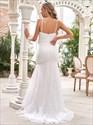 Ivory Mermaid Lace Overlay V-Neck Spaghetti Straps Wedding Dresses
