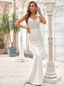 Ivory Sequin Bodice Deep V Neck Spaghetti Strap Mermaid Evening Dress