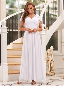 White Chiffon V-Neck A-Line Floor Length Bridesmaid Dress With Sleeves