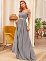 Grey A-Line Off The Shoulder Lace Bodice Long Chiffon Bridesmaid Dress